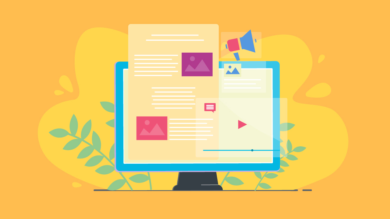 marketing illustration with yellow background
