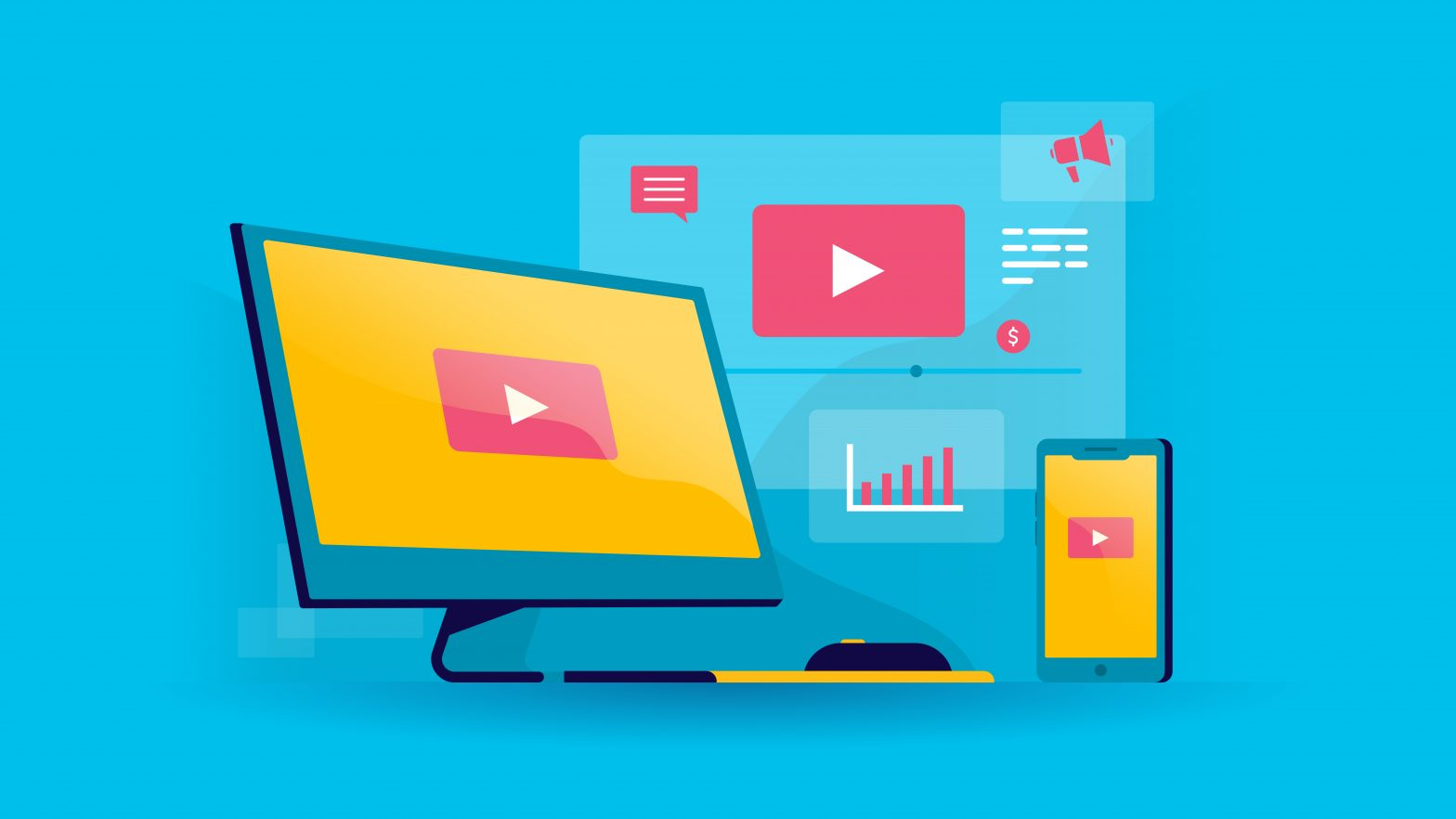 video marketing illustration with blue background color